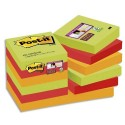 POST-IT Lot de 12 blocs Super Sticky Marrakech 90 feuilles 47,6x47,6mm - Coloris safran, tilleul, mûre