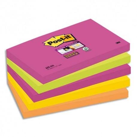 Bloc notes repositionnables Post-it  lot de 5 assortis SUPER STICKY 7,6 x 12,7 cm 90 feuilles couleurs néon