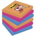 Bloc notes repositionnables Post-it Sticky pétillantes 76x76mm, Orange Néon/Rose Néon/Bleu Electrique lot de 6