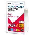 CANON PGI-520/CLI-521 Pack de 5 cartouches jet d'encre de marque Armor PGI520/CLI521
