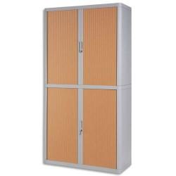 PAPERFLOW EasyOffice armoire démontable corps en PS teinté Gris rideau Hêtre - Dim L110x H204x P41,5 cm