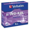 VERBATIM Pack de 5 DVD+R Dual Layer double couche / boîtier cristal 8,5GB 8x + REDEVANCE 43596