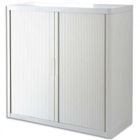 PAPERFLOW EasyOffice armoire démontable corps en PS teinté et rideau Blanc - Dim L110x H104x P41,5 cm
