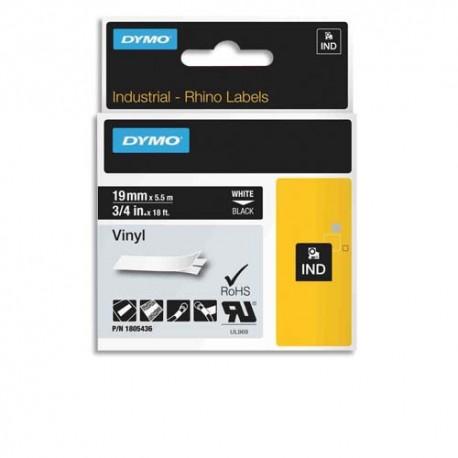 DYMO Cassette Rhino ruban vinyl impression blanc sur fond noir 19mmx5,5m 1805436