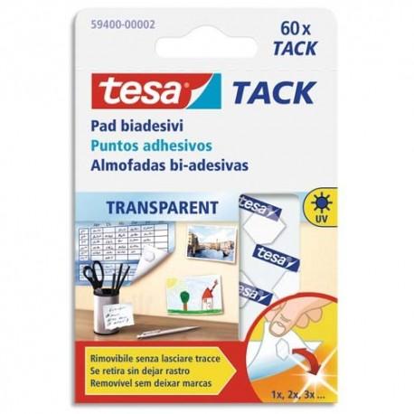 TESA pack pastilles adhesives double-face réutilisable et repositionnable pour objets légers 60X