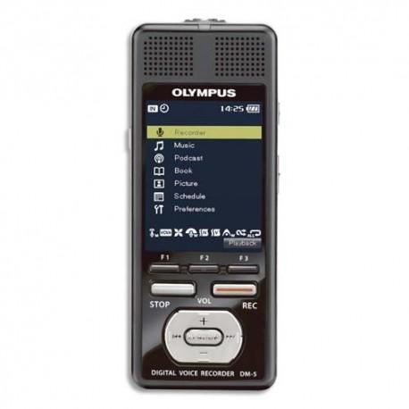 OLYMPUS Enregistreur DM5 8GO,MP3/WMA/PCM,micro stéréo,1065h max enreg,5 dossiers:999 fichier,41h autonomie