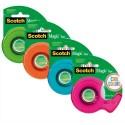 SCOTCH Dévidoir Cool Colors avec rouleaux adhésif Magic 19mmx16m-coloris assortis: rouge,bleu,jaune,vert