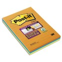 POST-IT Lot 3 blocs de 45f Sticky ligné 10,2x15,2cm. Coloris néon BP332 4645-3SSAN