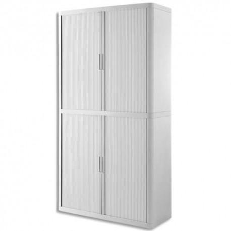 PAPERFLOW EasyOffice armoire démontable corps en PS teinté et rideau Blanc - Dim L110x H204x P41,5 cm