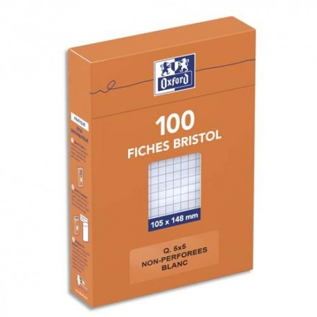 Hamelin Boîte de 100 fiches bristol 105x148 mm 5x5 blanc 234020