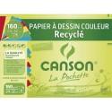 Papier dessin Canson pochette de 8 feuilles de papier dessin couleur recyclé format 24x32 cm 160 grammes