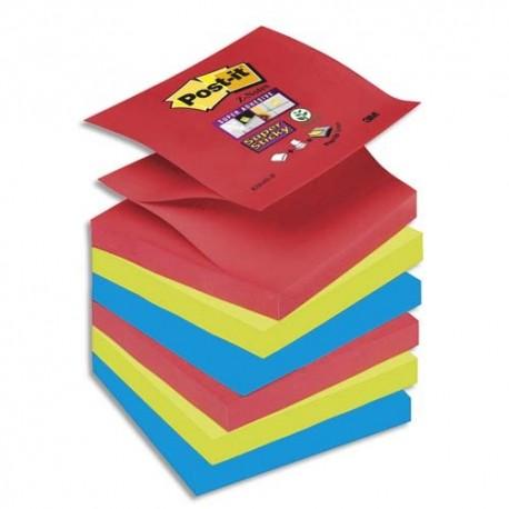 Bloc notes repositionnables en Z Post-it  SuperSticky couleurs VITAMINES 90 feuilles 76X76mm lot de 6