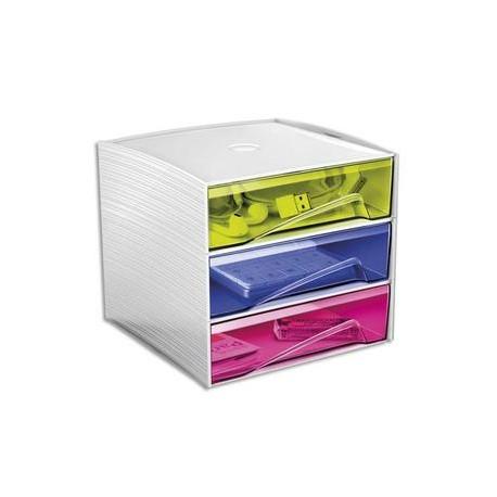 CEP Bloc de rangement 3 tiroirs, 3 compartiments. Dim: L18,6 x P18,5 x H17,5 cm. Coloris Blanc/Assortis