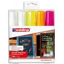 EDDING E-4090 Marqueurs craie liquide pointe ogive 4-15mm. Assortis: 2 blancs, 1 jaune, 1 orange, 1 rose.
