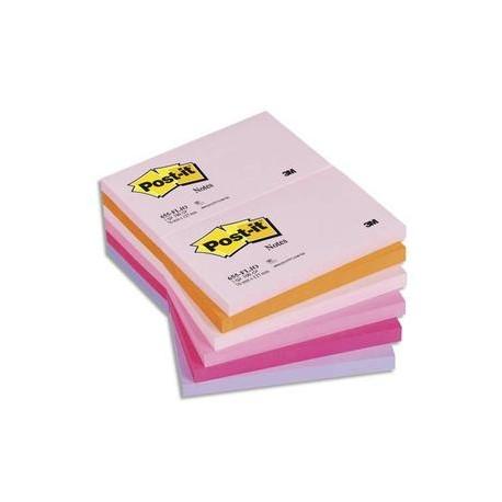 POST-IT Lot de 12 blocs repositionnables coloris PLAISIR dimensions 76x127mm
