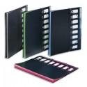 Trieur 8 positions - Trieur Viquel Graficolor à élastique en polypropylène 5/10. 8 compartiements. Noir intérieur couleur