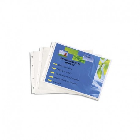 EXACOMPTA Lot de 20 pochettes EXACTIVE en polypropylène. Format A4 portrait (perforations petit côté).