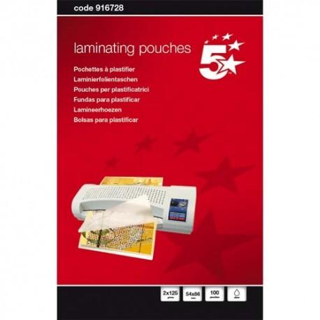 5 ETOILES Boîte de 100 pochettes à plastifier 54x86mm, 2x125µ 916728