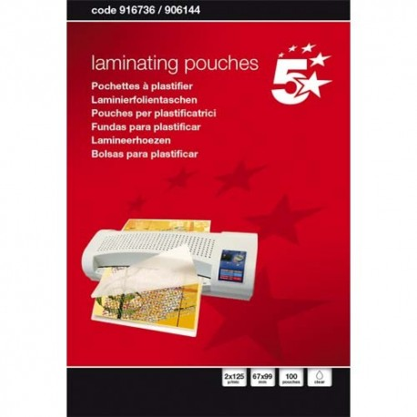 5 ETOILES Boîte de 100 pochettes à plastifier 67x99mm, 2x125µ 916736