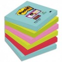 POST IT Lot de 6 blocs notes Super Sticky Post-it® Collection MIAMI 76x76 mm, 90 feuilles.