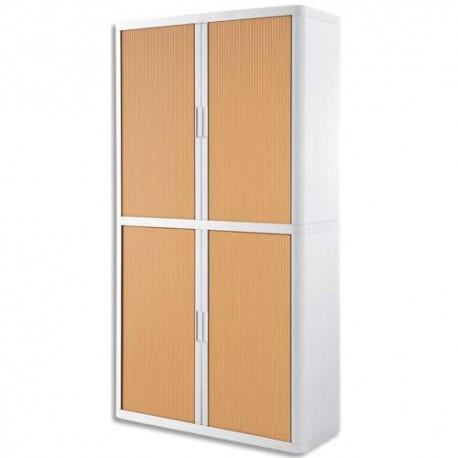 PAPERFLOW EasyOffice armoire démontable corps en PS teinté Blanc rideau Hêtre - Dim L110x H204x P41,5 cm