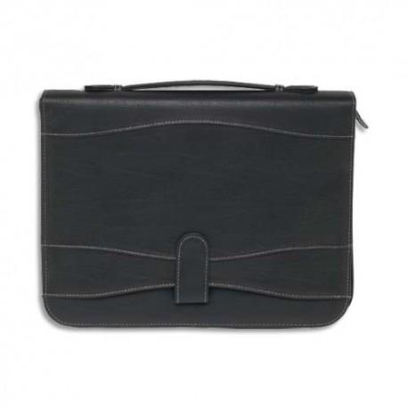 OBERTHUR Conférencier CAMBRIDGE A4 zippé, anneaux, poignée 27,5x35,5cm en cuir noir