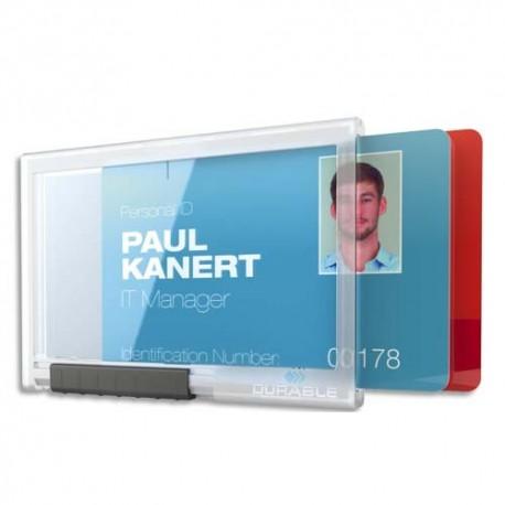 DURABLE Boîte de 10 porte-carte Pushbox Duo avec bouton poussoir. Pour 2 cartes format 56 x 85 mm.