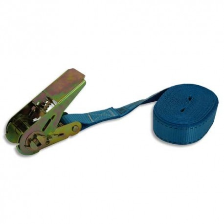 VISO Sangle à cliquet bleue en Polyét, charge 250 kg rupture à 500 Kg - Longueur 5 m, largeur 2,5 cm