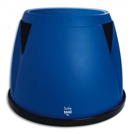 SAFETOOL Marchepied monobloc Taboo en plastique bleu, 3 roues, Charge 150 kg - D30/45,5 x H36 cm