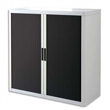 PAPERFLOW EasyOffice armoire démontable corps en PS teinté Blanc rideau Noir - Dim L110x H104x P41,5 cm