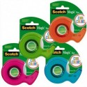SCOTCH Dévidoirs Scotch® Colors 19mmx19M. Assortis : vert, bleu, rose et orange.