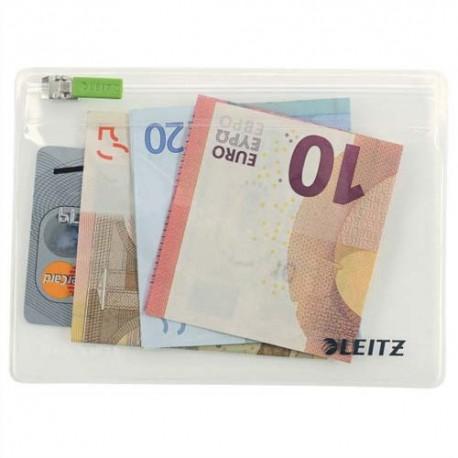 LEITZ Sachet de 2 pochettes enveloppe à zip Traveller PVC 2/10e, format XS, coloris transparent