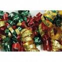 CLAIREFONTAINE Sachet de 3 bandes froufrous (chaque bande : 10 rubans frisés). Coloris rouge, vert et or