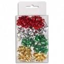 CLAIREFONTAINE Boite de 12 mini étoiles adhésives 7x10x4cm. Rouge, Argent, Vert, Or