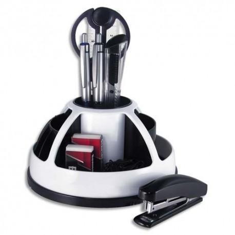 PAV Pot rotatif garni de 9 éléments, 11 compartiments. Coloris blanc et noir