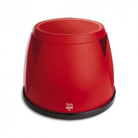 SAFETOOL Marchepied monobloc Taboo en plastique rouge, 3 roues, Charge 150 kg - D30/45,5 x H36 cm