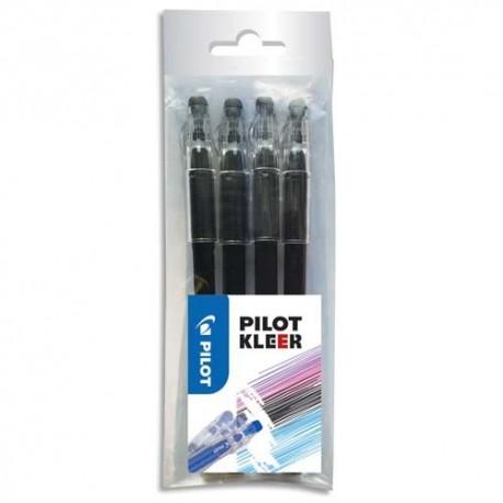 PILOT Blister de 4 stylos bille Kleer 0,7. Encre effaçable. Gomme intégrée sur le capuchon.
