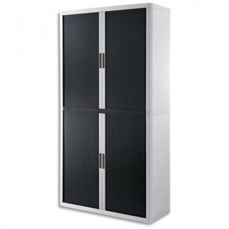 PAPERFLOW EasyOffice armoire démontable corps en PS teinté Blanc rideau Noir - Dim L110x H204x P41,5 cm