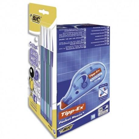 BIC Pack de lot de 10 Pocket Mouse et 8 stylos bille Like Me