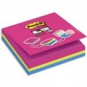 """POST IT 3 Cubes Super Sticky Post-it® """"Easy select"""" Couleurs, 70 feuilles lignées, 101x101 mm."""