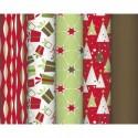 CLAIREFONTAINE Rouleau de papier cadeau 80g Rouge poudré Grande dimension 10x0,7m. 5 design assortis