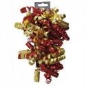 CLAIREFONTAINE Sachet de 3 bandes froufrous (chaque bande : 10 rubans frisés). Coloris rouge et or