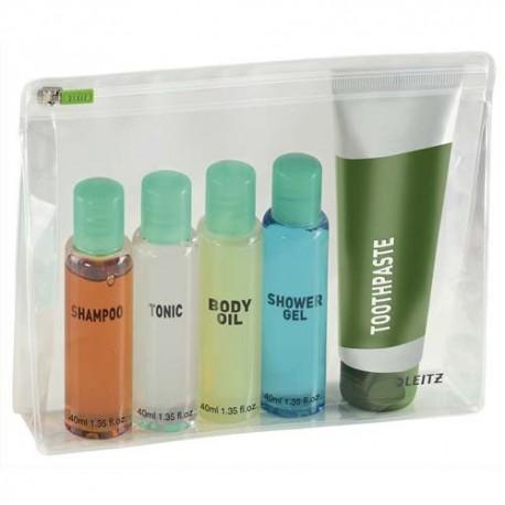 LEITZ Sachet de 2 pochettes enveloppe à zip + soufflet Traveller PVC 2/10è, format M, coloris transparent