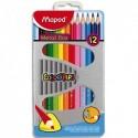 MAPED Boite métallique de 12 crayons de couleur assortis