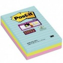 POST IT Lot de 3 blocs notes Super Sticky Post-it® Grands Formats lignées MIAMI 101x152 mm, 90 feuilles.