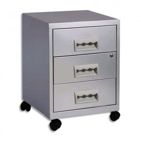 PIERRE HENRY Caisson Rang Concept 3 tiroirs à roulette aluminium - Dimensions : L40 x H56,3 x P40 cm