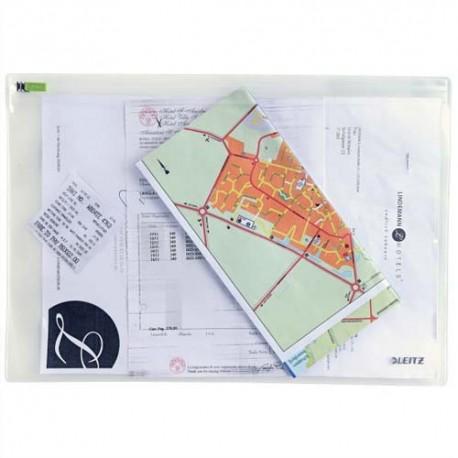 LEITZ Sachet de 2 pochettes enveloppe à zip Traveller PVC 2/10è, format L, coloris transparent