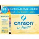 CANSON Pochette 12 feuilles papier MI-TEINTES  160g  24x32cm. Assortiment de couleurs claires