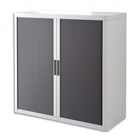 PAPERFLOW EasyOffice armoire démontable corps en PS teinté Blanc rideau Anthracite L110x H104x P41,5 cm
