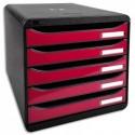 EXACOMPTA Module de classement 5 tiroirs. Coloris noir/rose glossy. Dim : L27,8 x H26,7 x P34,7 cm.